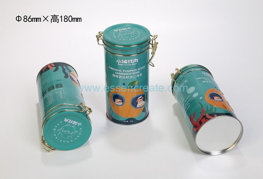 Airtight Lockable Round Metal Can with Seal Ring
