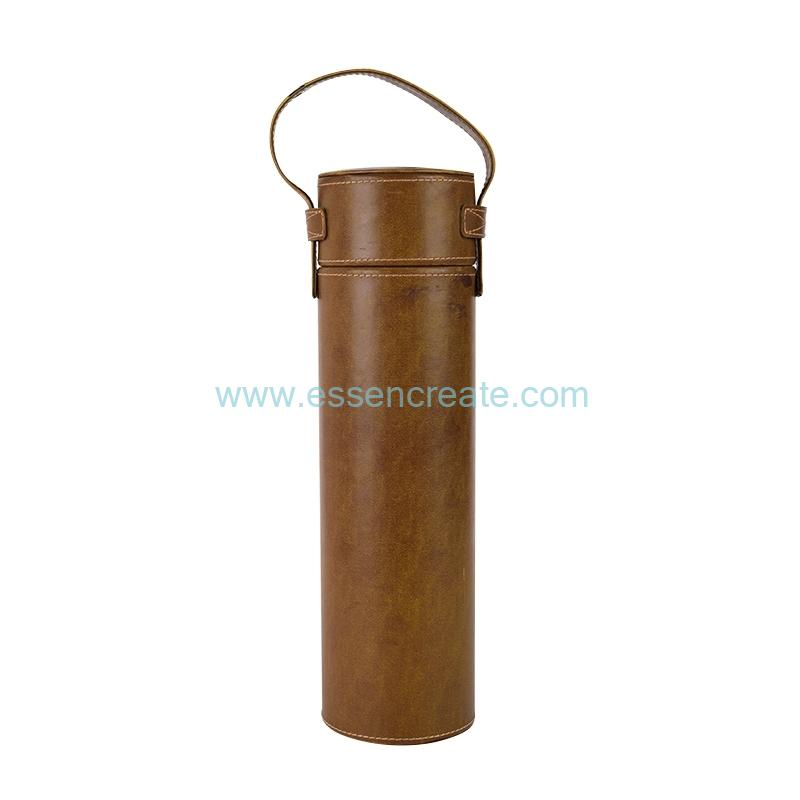 Cylinder PU Leather Wine Bottle Packaging Tube Box