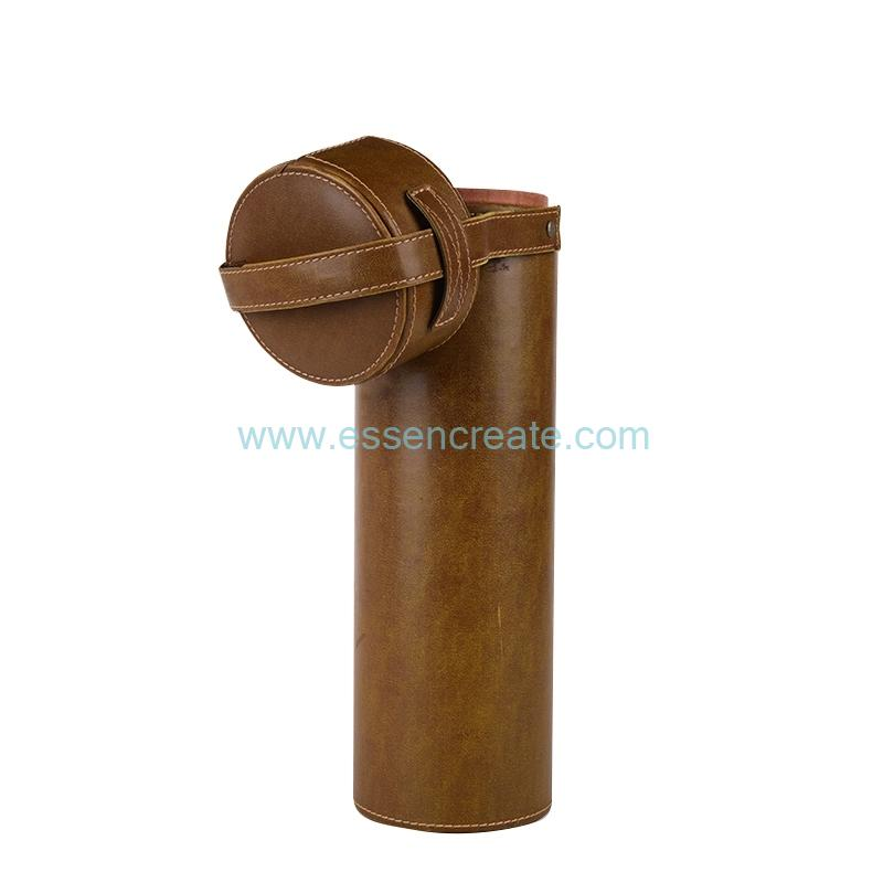 PU Leather Wine Bottle Packaging Tube with Handle