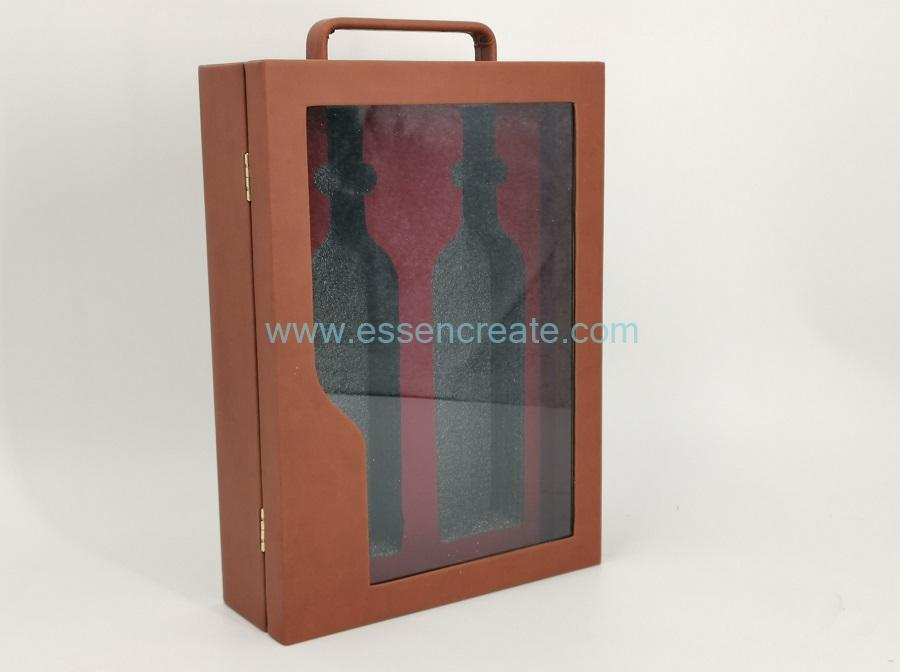 Two Wines PU Leather Box with Clear Window