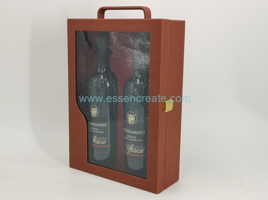 Wine Leather Box with Window