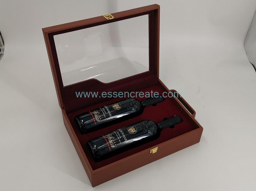 Two Bottles Display Packaging Leather Box