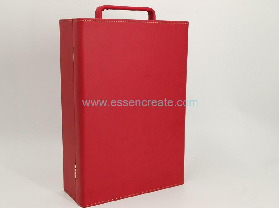 Two Wine Bottles Red Leather Case with PE-Foam