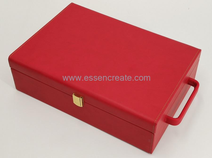 Two Wines Bottle Packing Leather Case Box