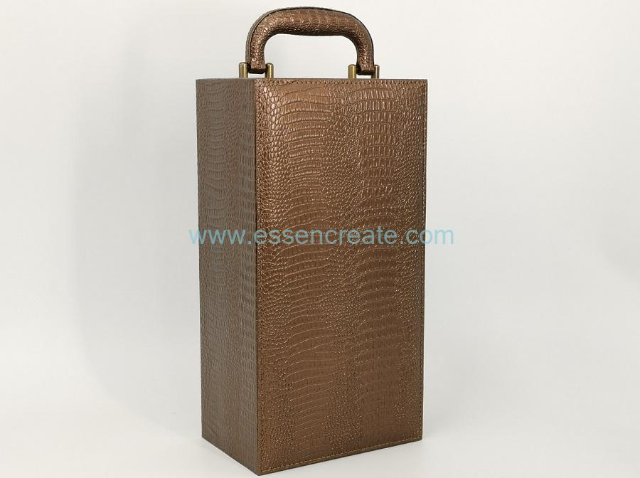 Single Wine Bottles Crocodile Leather Box with Satin