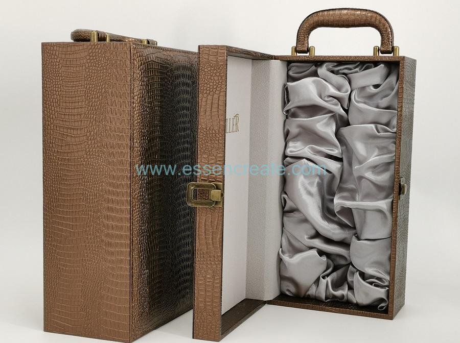 Luxury Crocodile Wine Leather Box