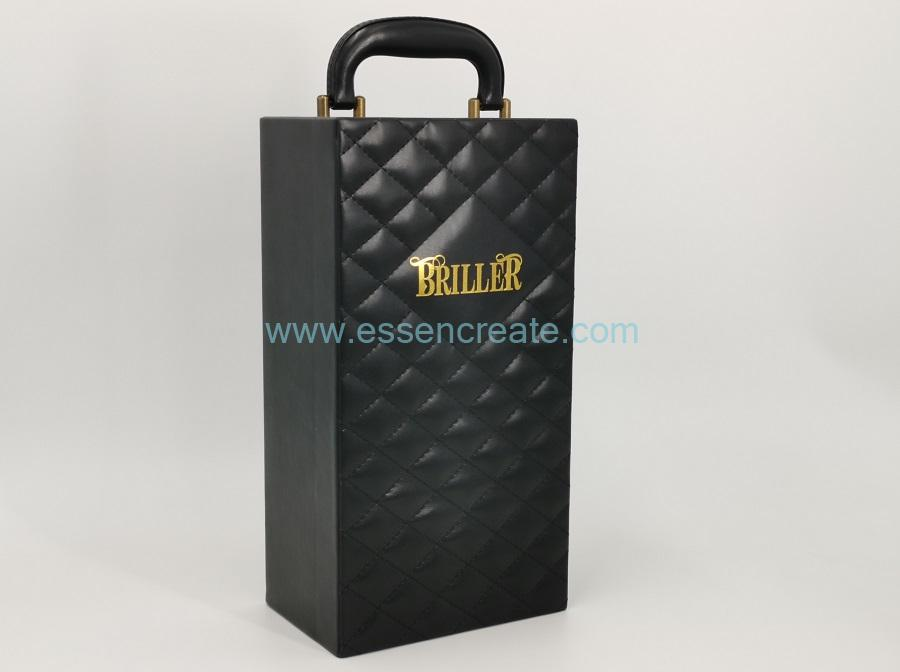 Thread Decorative Black Leather Single Wine Bottles Box