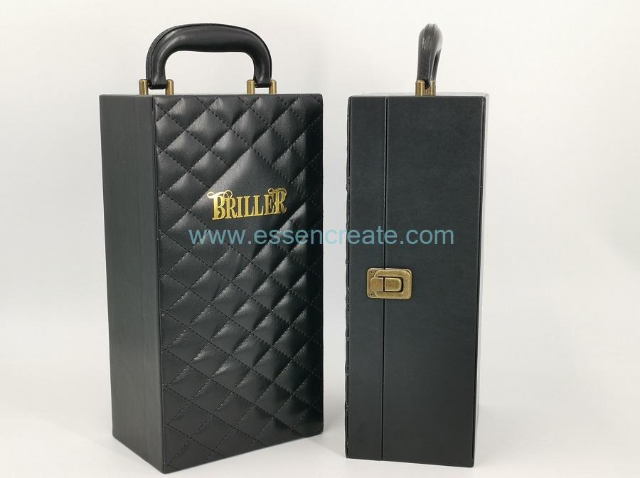 Black Leather Single Wine Bottles Box