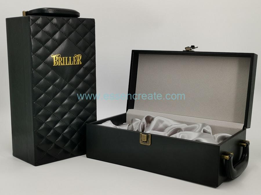 Wine Leather Box with Satin