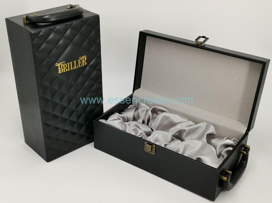 PU Thread Line Leather Wine Box