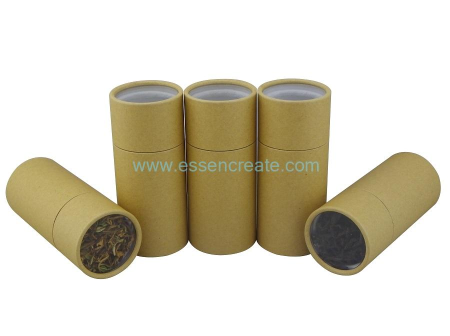 Brown Kraft Paper Tube with Clear Top Window
