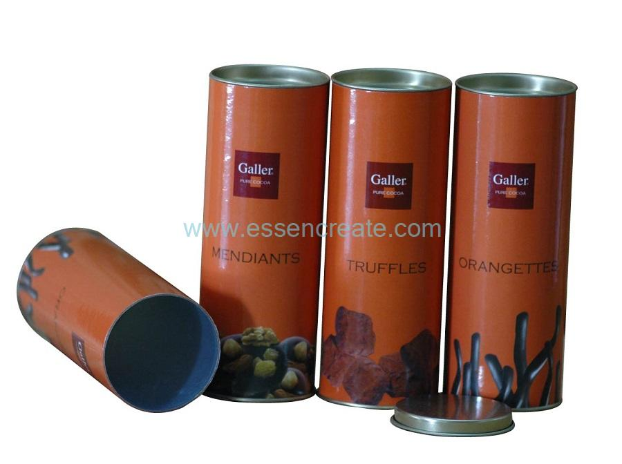 Round Recyclable Metal Lid Paper Truffles Packaging Tube