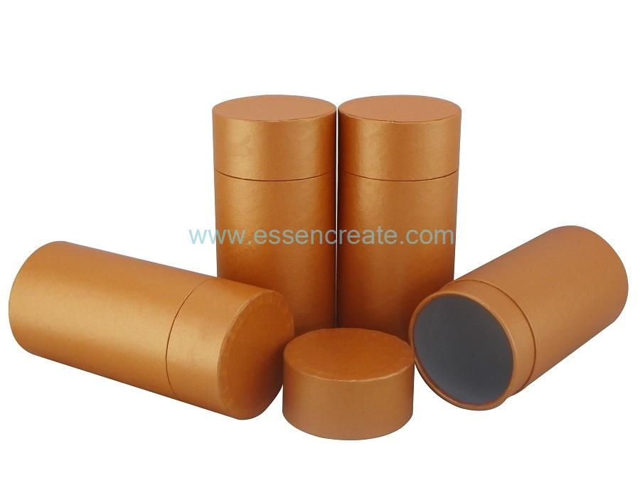 Bright Orange Paper Tube with Flat Edge Lid