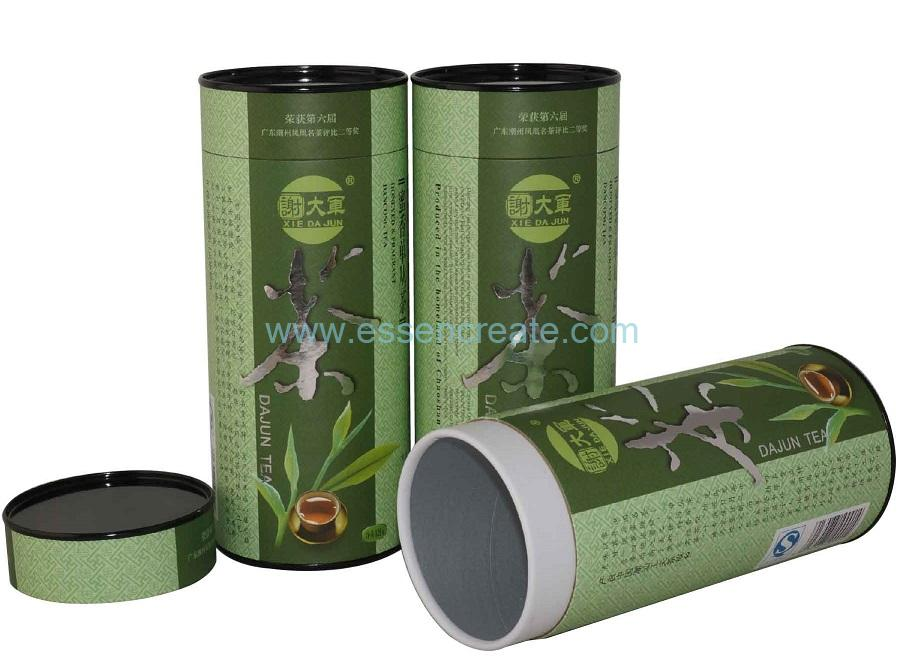 Oolong Tea Paper Packaging Tube with Black Tin