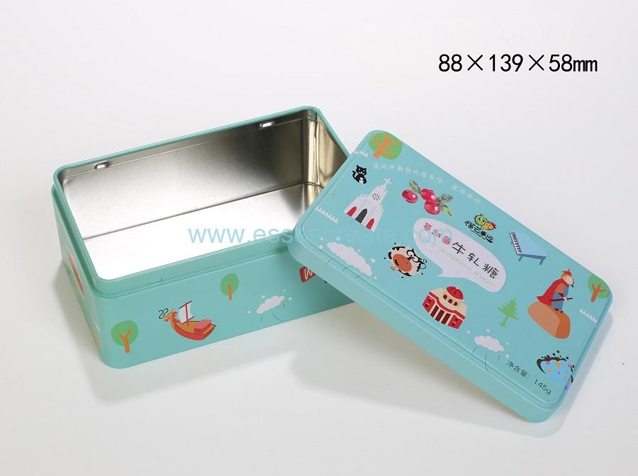 Food Grade Square Box Nougat Packaging Metal Tin Cans