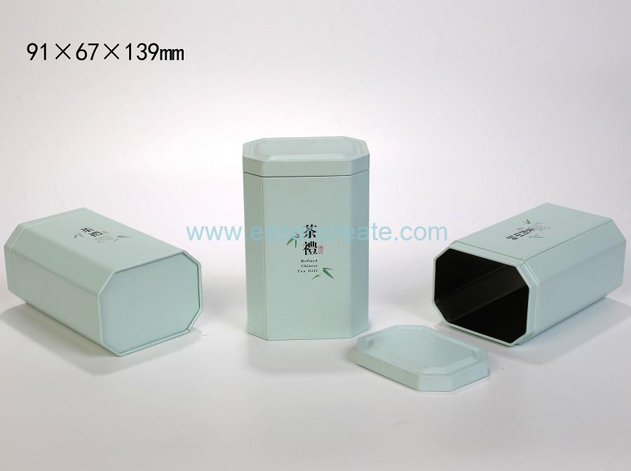 Green Tea Octagonal Metal Cans Tin Square Packaging Gift Box