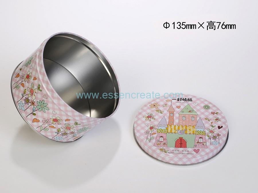 Round Metal Tin Christmas Candy Chocolate Packaging Gift Box