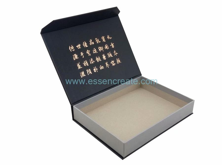 Gift Packaging Bookshape Box with Gold Hot Stamping