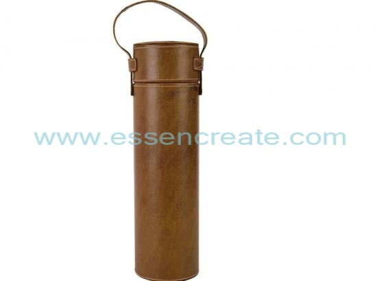 Cylinder PU Leather Wine Bottle Packaging Tube