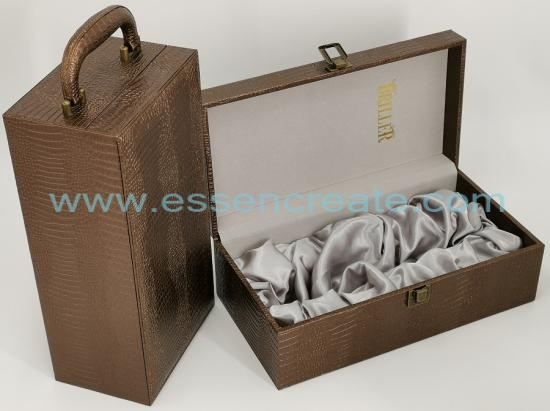 Crocodile Leather Wine Box with Satin