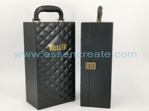 Thread Decorative Black Leather Wine Holder Box