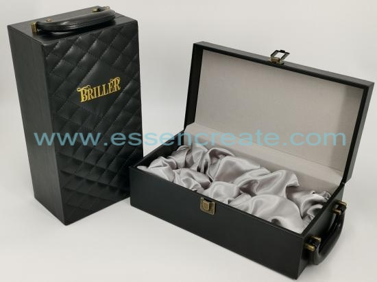 Thread Decorative Black Leather Wine Box