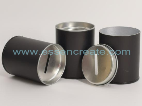 Metal Coin Slot Money Bank Packaging Cylinder Canister